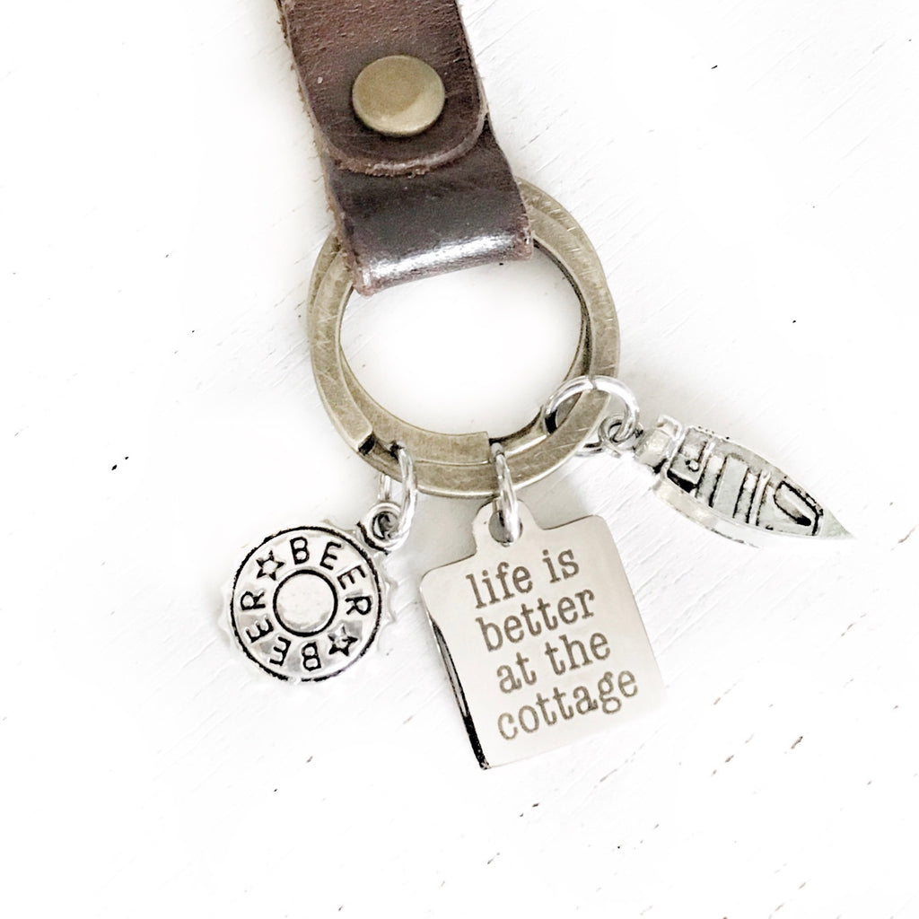 Life is Better at the Cottage Keychain