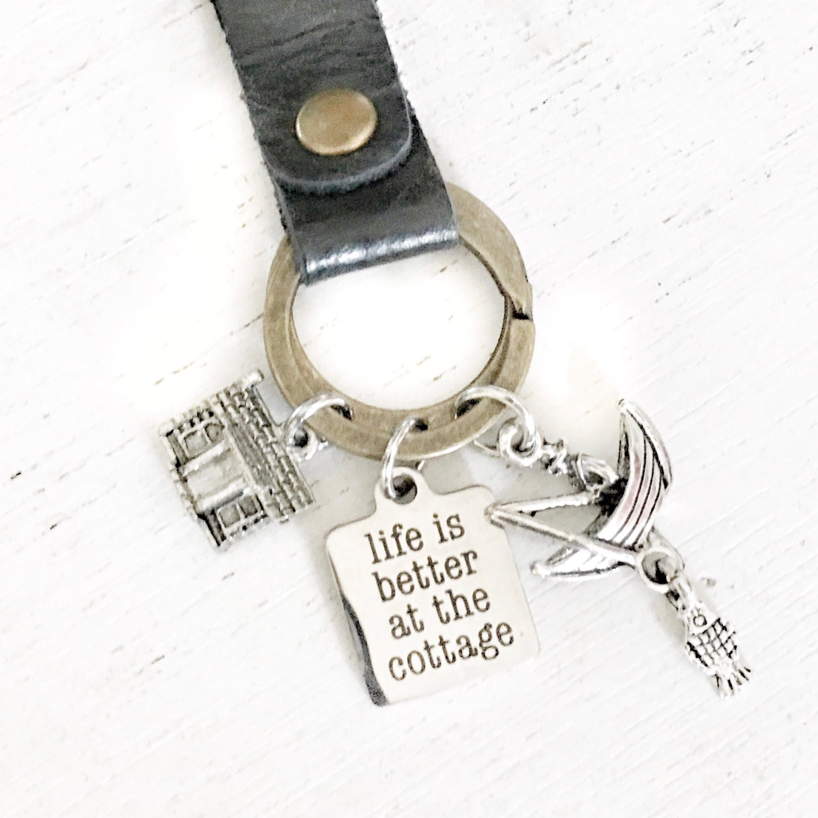 Life is Better at the Cottage fishing Keychain