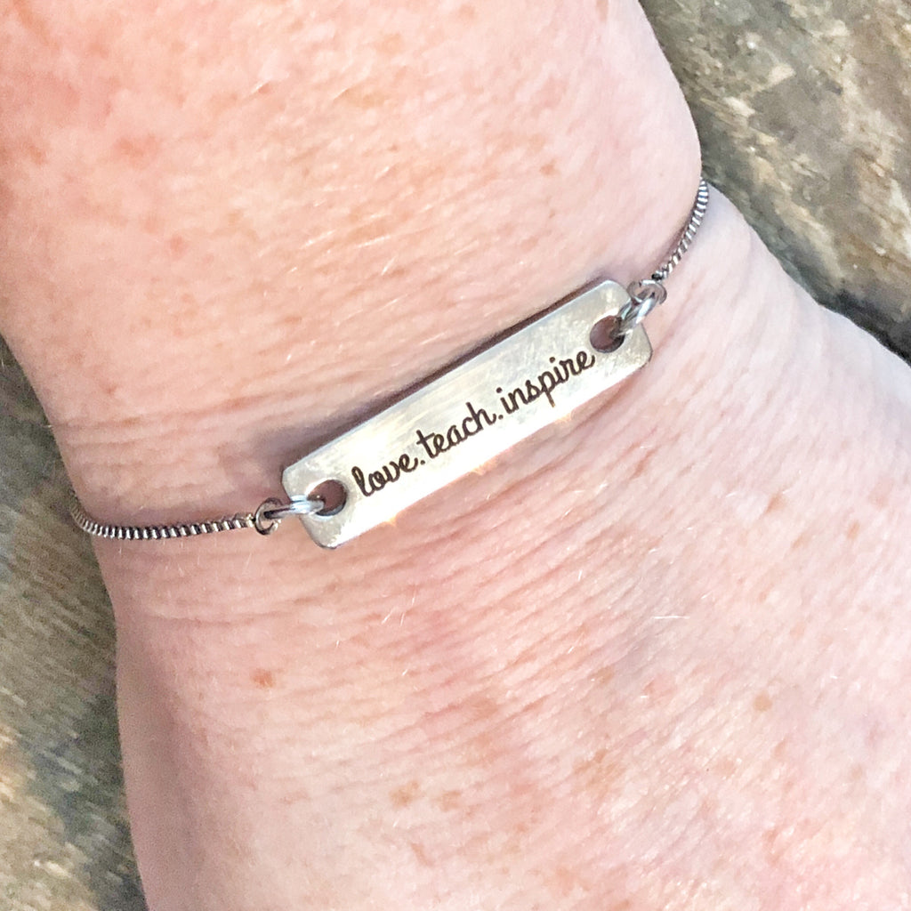 Teach inspire love adjustable bracelet