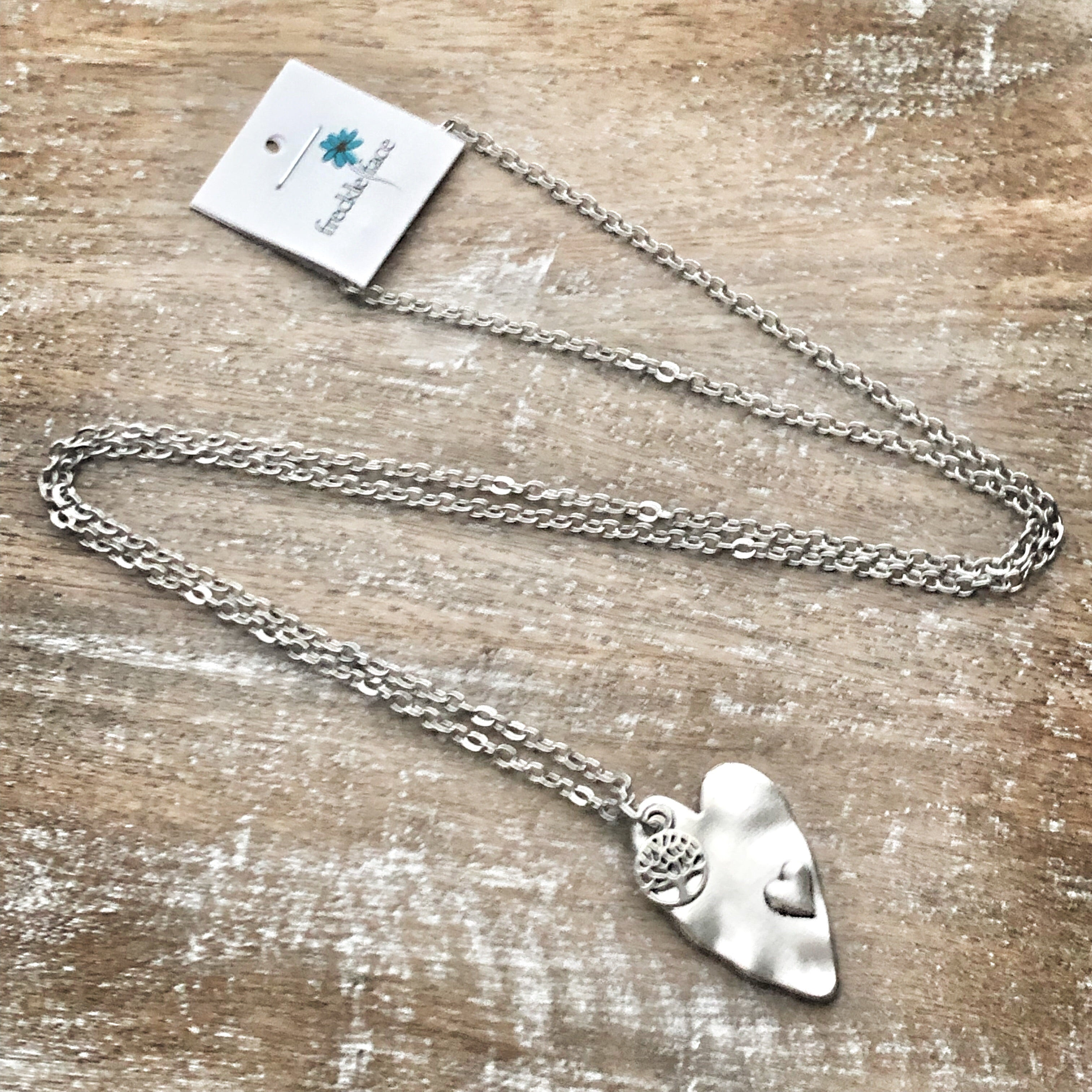 Heart and Mini Tree Pendant Necklace