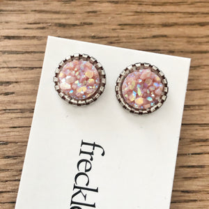 Druzy Stud Earrings - Spring colors 10mm