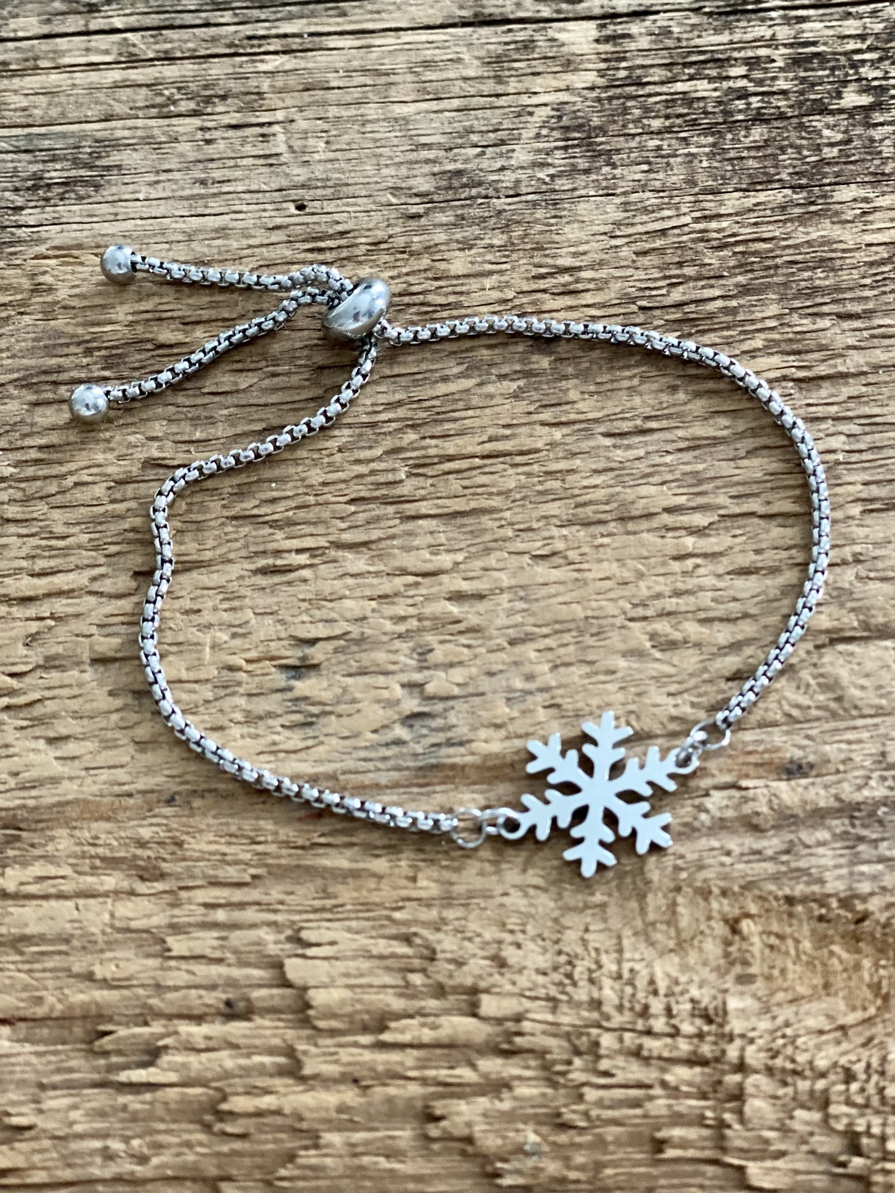 Adjustable Bracelet - Silver Snowflake