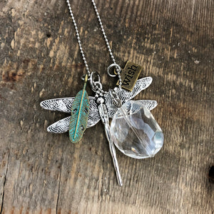 Dragonfly Crystal Wish Necklace