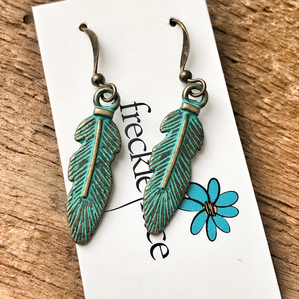 Small Feather Patina Earrings