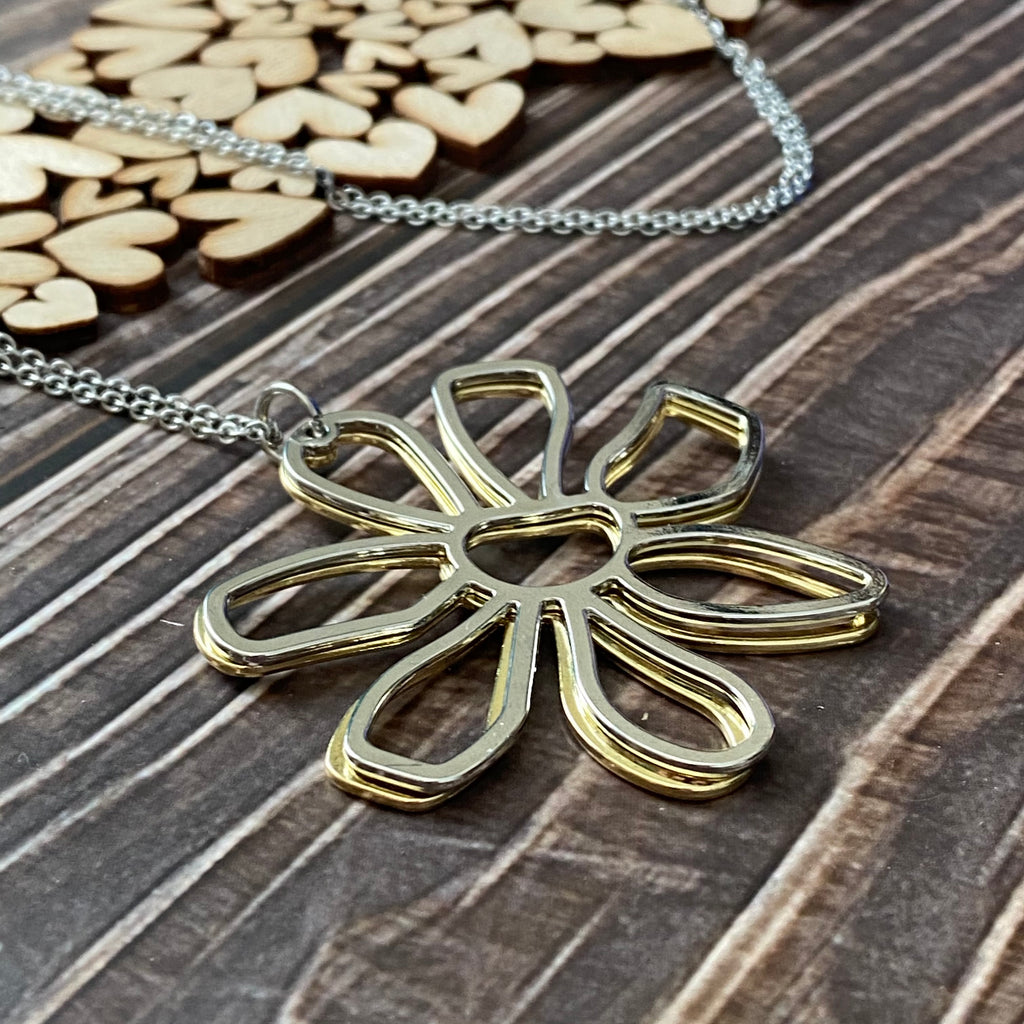 Double Flower Long Necklace