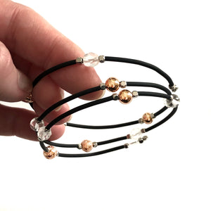 Memory Wire Bracelet with Black tubing