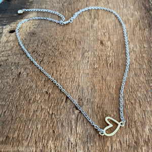 Gold open heart short necklace