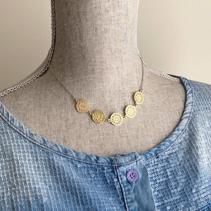 Adjustable gold medallion necklace