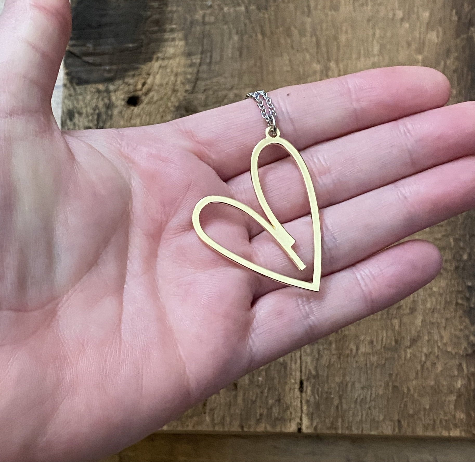 Simple Gold Heart Long Necklace