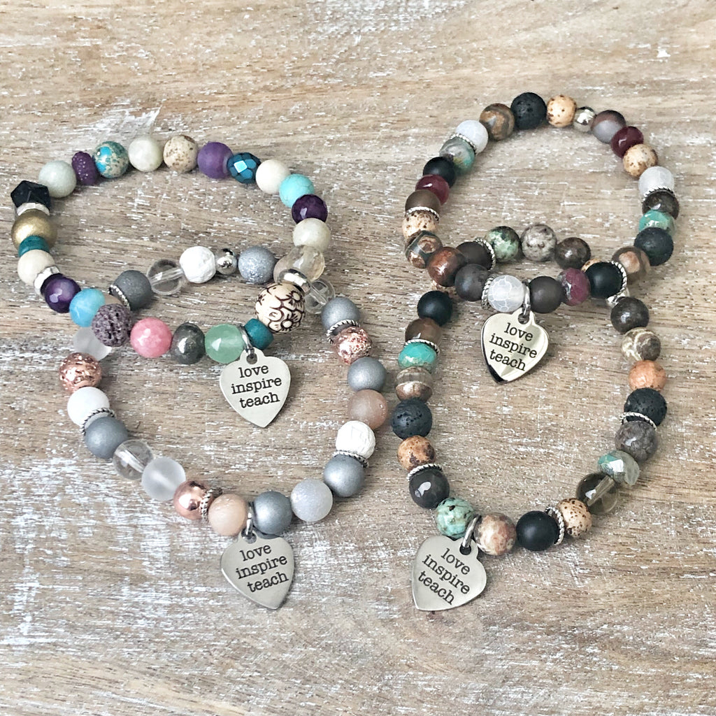 Teacher beaded bracelet with teach love inspire Charm