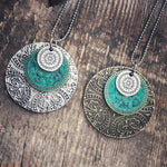 Triple Medallion Patina Pendant Necklace