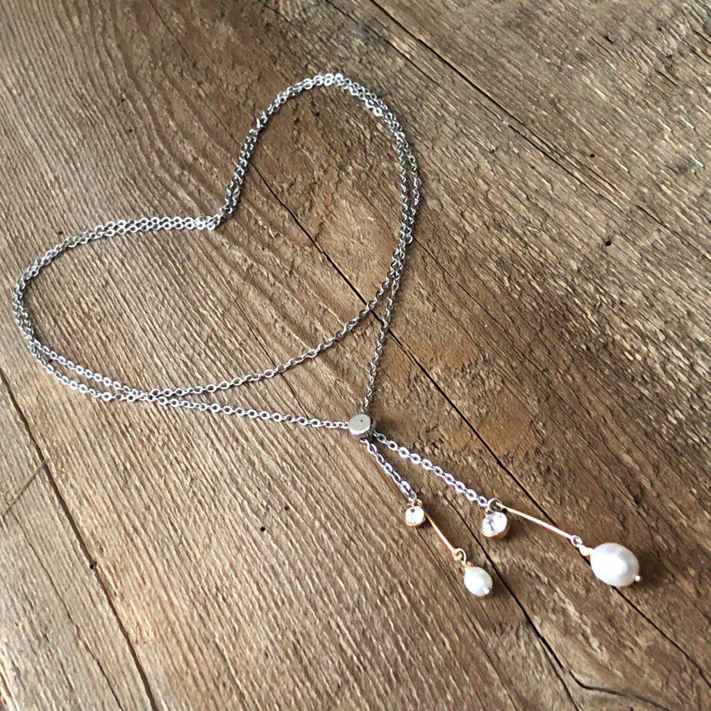 Adjustable dainty gold and pearl necklace