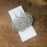 Filigree Medallion Earrings - gold and silver