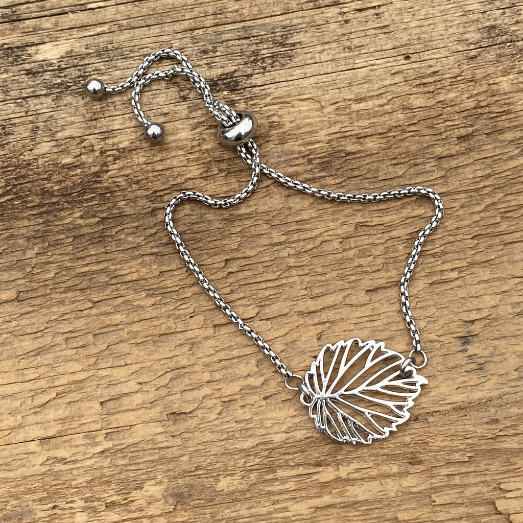 Adjustable Bracelet - Silver Leaf