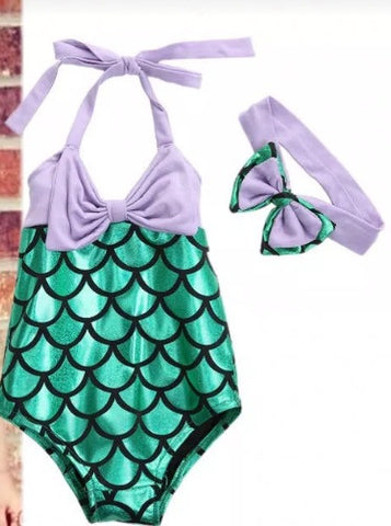 Precious Mermaid purple and green swim suit - Tiny Stars Boutique