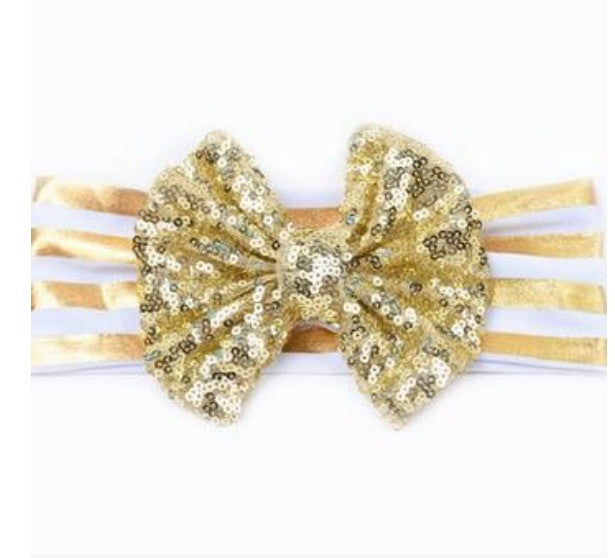 Beautiful white and gold  headband with gold sequin bow. - Tiny Stars Boutique