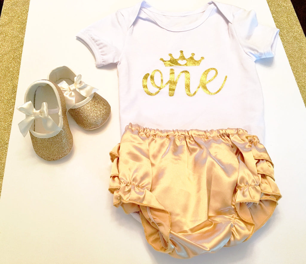 Baby White and Gold Tutu Onesie - Tiny Stars Boutique