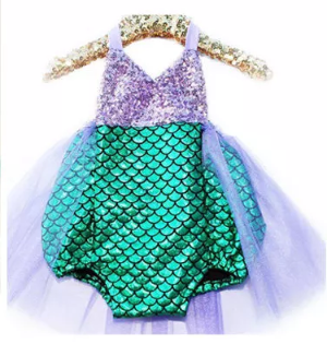 One piece green and purple adorable swimsuit with purple sequin top part. - Tiny Stars Boutique