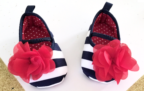 Baby Girl Red Flower Shoes - Tiny Stars Boutique