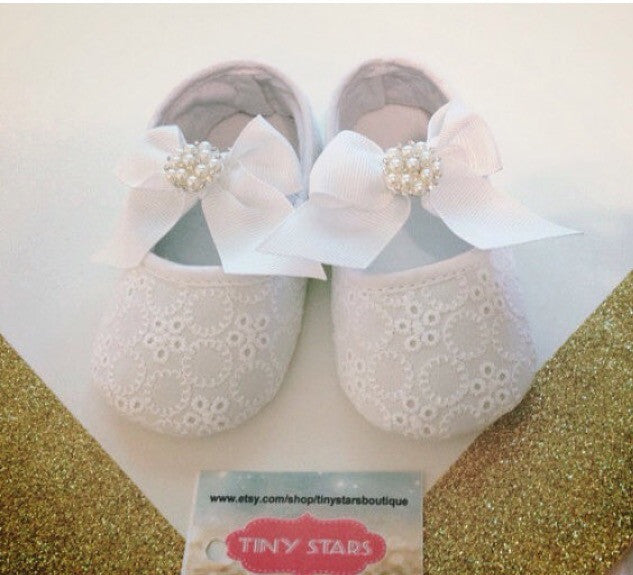 White Pearl Baby Girl Shoe - Tiny Stars Boutique