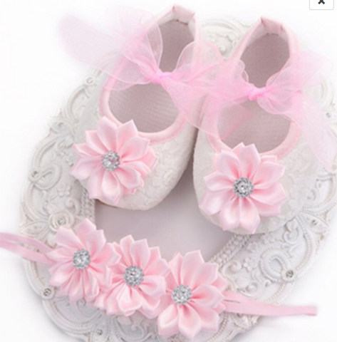 White & Pink Shoes with matching Headband - Tiny Stars Boutique