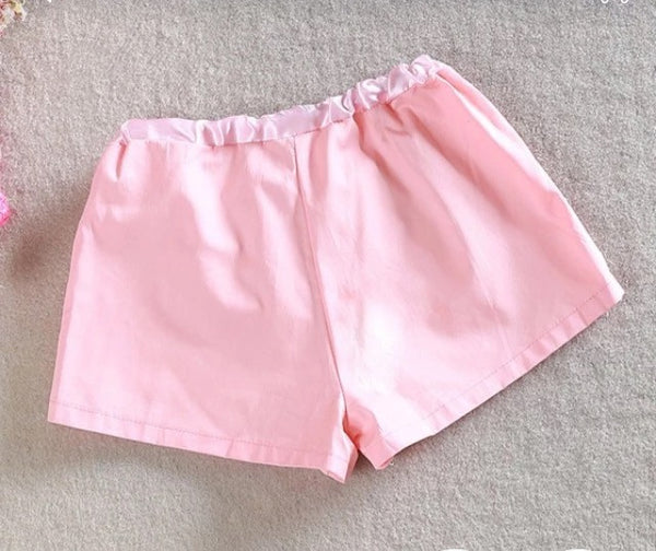 Pink tie bow loose shorts with sequin front. - Tiny Stars Boutique