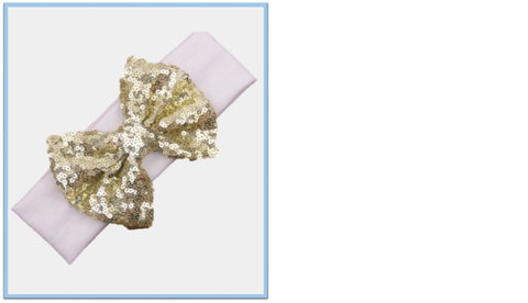 Baby white Headband with gold sequin bow. - Tiny Stars Boutique