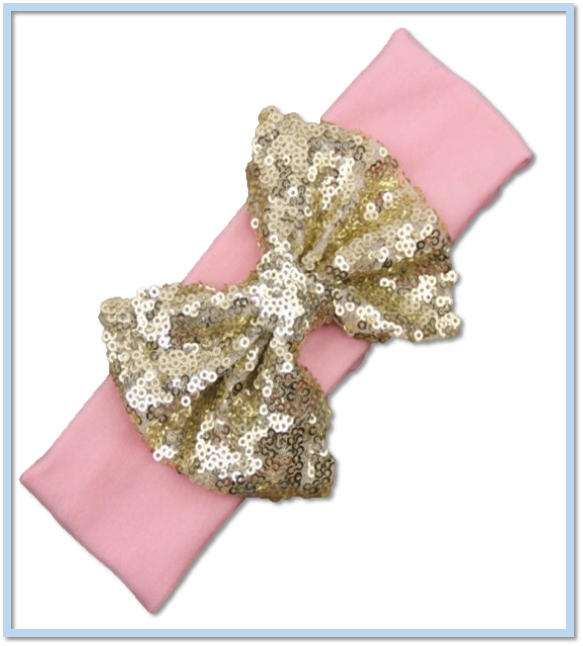 Adorable pink headband with sequin gold bow - Tiny Stars Boutique