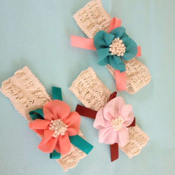 Floral Headband - Baby headband - Girls headband - Baby Hair accessory - Toddler Headband - Pink Headband - Orange headband - blue headband - Tiny Stars Boutique