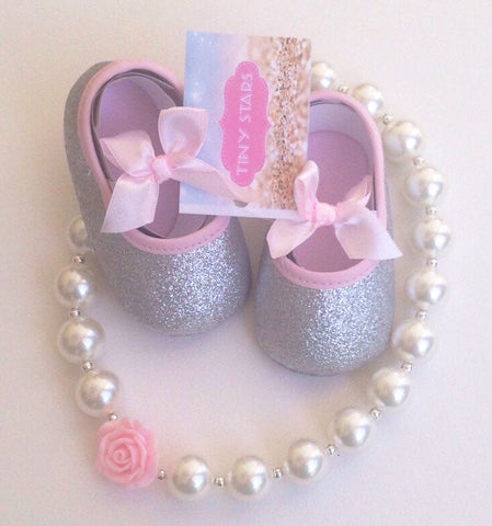Baby Girl Silver and Pink Shoes - Tiny Stars Boutique