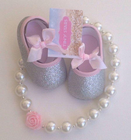 Pink Baby Shoes-Baby Silver Shoes -Glitter Baby Shoes-Silver Glitter Baby Shoes-Silver Shoes-Baby girl shoe-First Birthday outifit-baby shoe - Tiny Stars Boutique