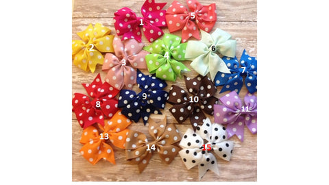 Baby Bows, Polka Dot Bows, Toddler Bows, Infant Bows, White Bows, Pink Bows, Orange Bows,Purple Bows, Blue Bows, Green Bows - Tiny Stars Boutique