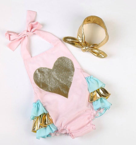 Baby Girl Pink Gold Heart Romper - Tiny Stars Boutique