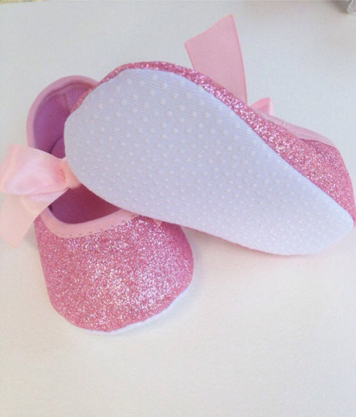 Pink Baby shoes, First Birthday Outfit, baby girl shoes,Glitter shoes, Girl Pink shoes, Baby glitter shoes, 1st Birthday, baby girl outfit - Tiny Stars Boutique