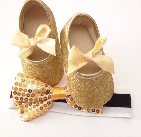 Gold Glitter Baby Girl Shoes - Tiny Stars Boutique