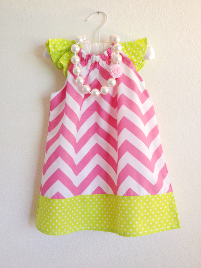 Baby girl dress - Chevron Dress - Summer dress, Pink dress, girl headband, girl necklace, girl accesories, baby girl outfit, girl hair piece - Tiny Stars Boutique
