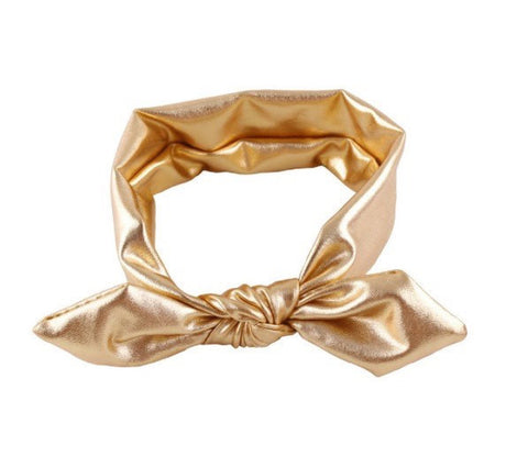 Gold Baby Headbands, Top knot hairband, Bowknot turban headband, girl headbands, infant headbands,  metallic turban headband - Tiny Stars Boutique