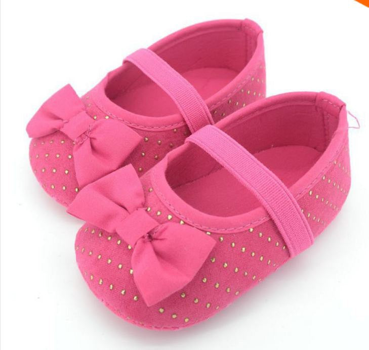 pink gold dots baby girl shoes tiny stars boutique
