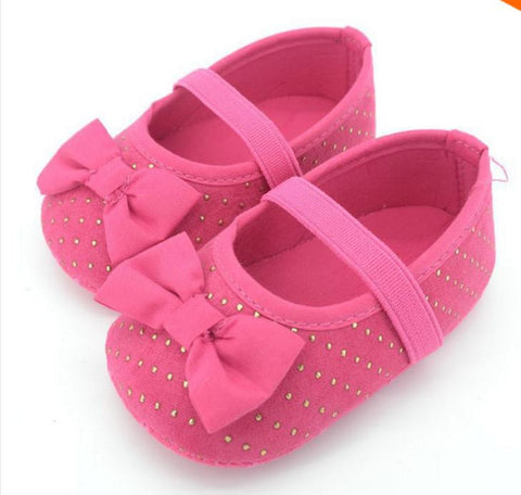 Pink & Gold dots baby girl shoes - Tiny Stars Boutique