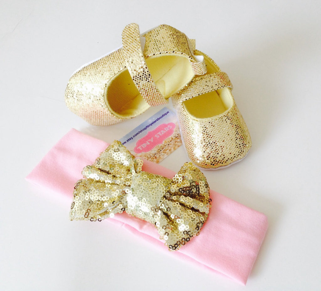 Gold Baby Girl Shoes - Tiny Stars Boutique