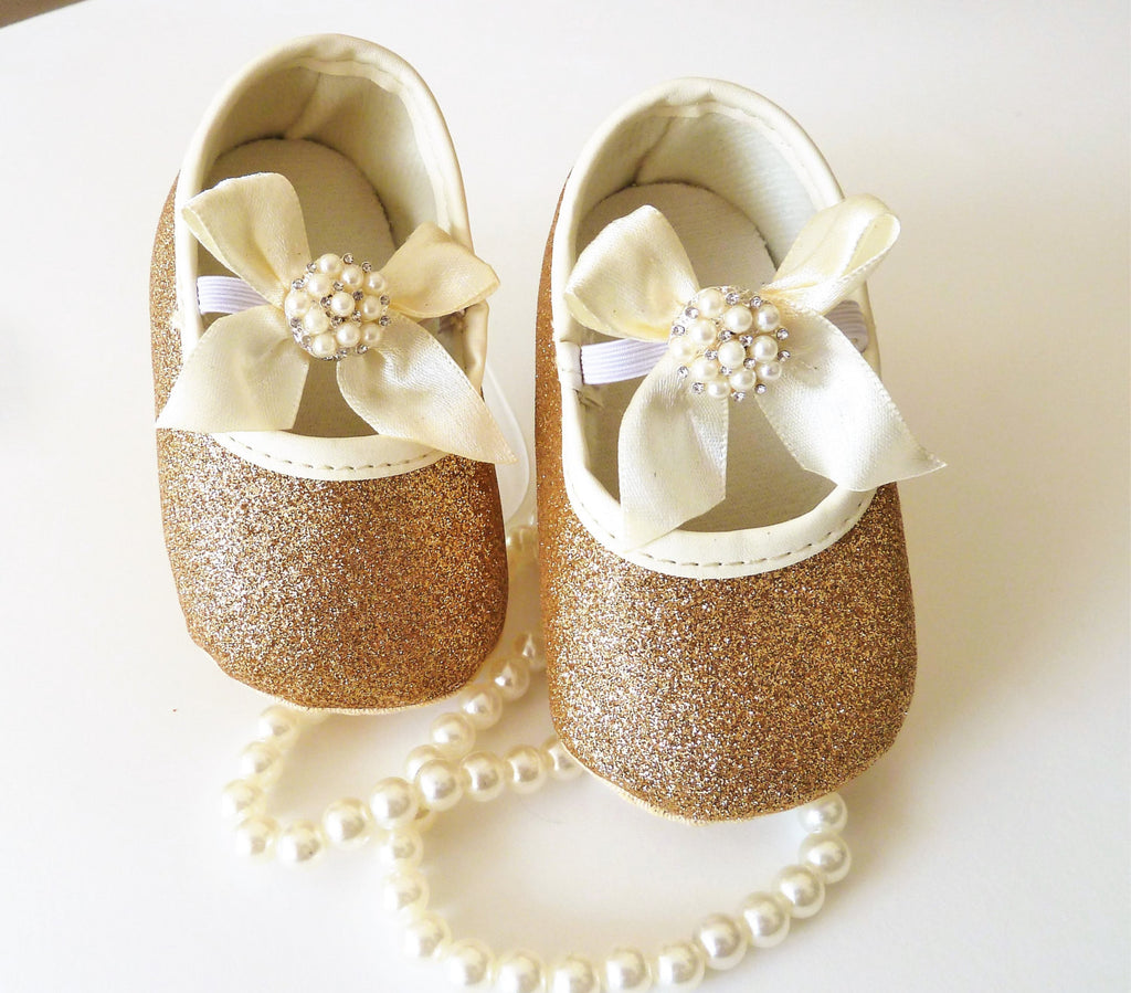 Gold Baby Shoes with Pearl - Tiny Stars Boutique