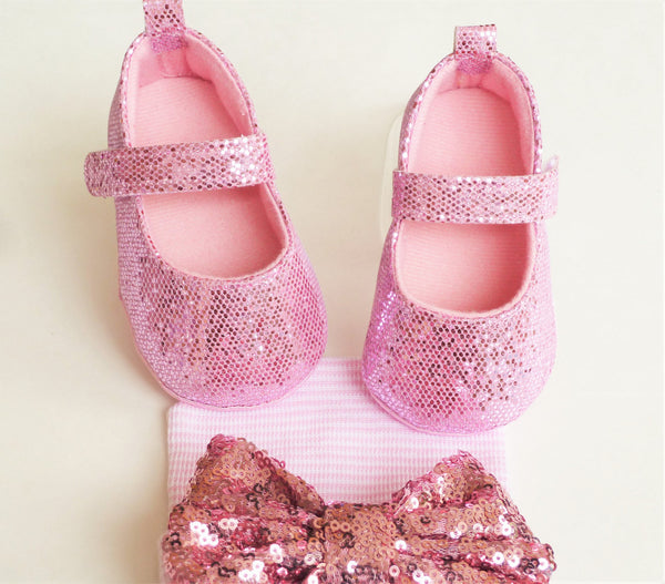 Pink Sparkly Baby Girl Shoes - Tiny Stars Boutique