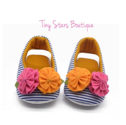 Floral Striped Shoes - Tiny Stars Boutique