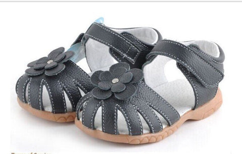 Girl Navy Blue Leather Sandals - Tiny Stars Boutique