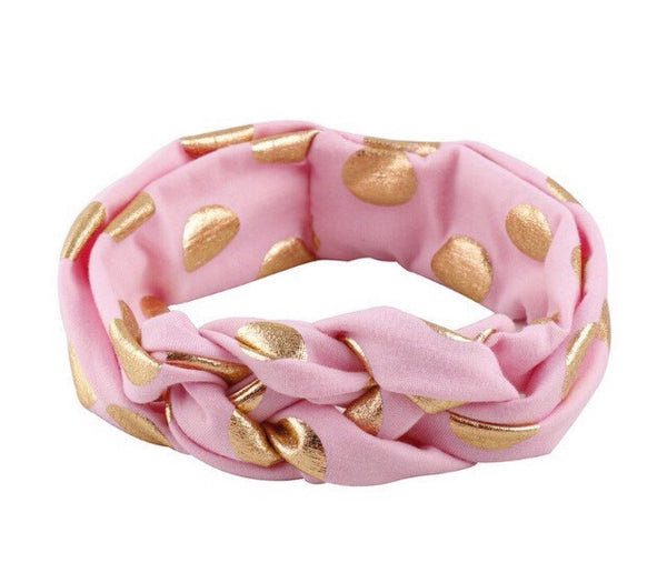 Pink Twisted headband with gold dots. - Tiny Stars Boutique