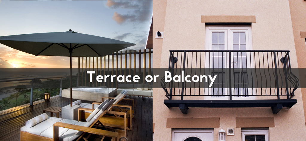 what is the difference between and a terrace a balcony