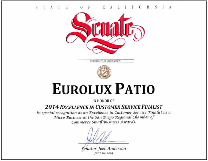 Eurolux Patio Certificate of Recognition 2014 from Chamber of Commerce San Diego