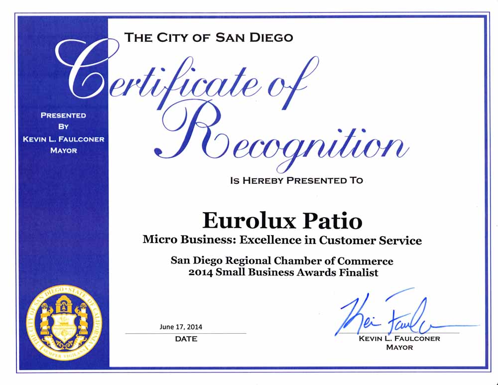 Eurolux Patio Award for Customer Service Excellence 2014 from Chamber of Commerce San Diego