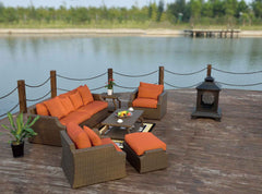 Sunset Wicker Love Seat Club Sofa Set With Ottoman