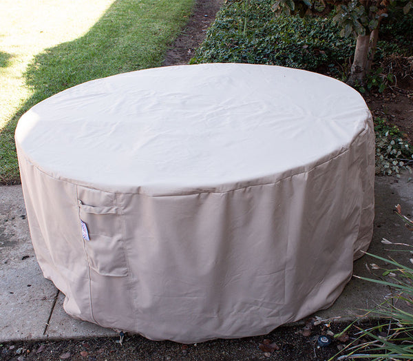 Outdoor Round Dining Cover 65-31.5 Inches Beige Rainproof